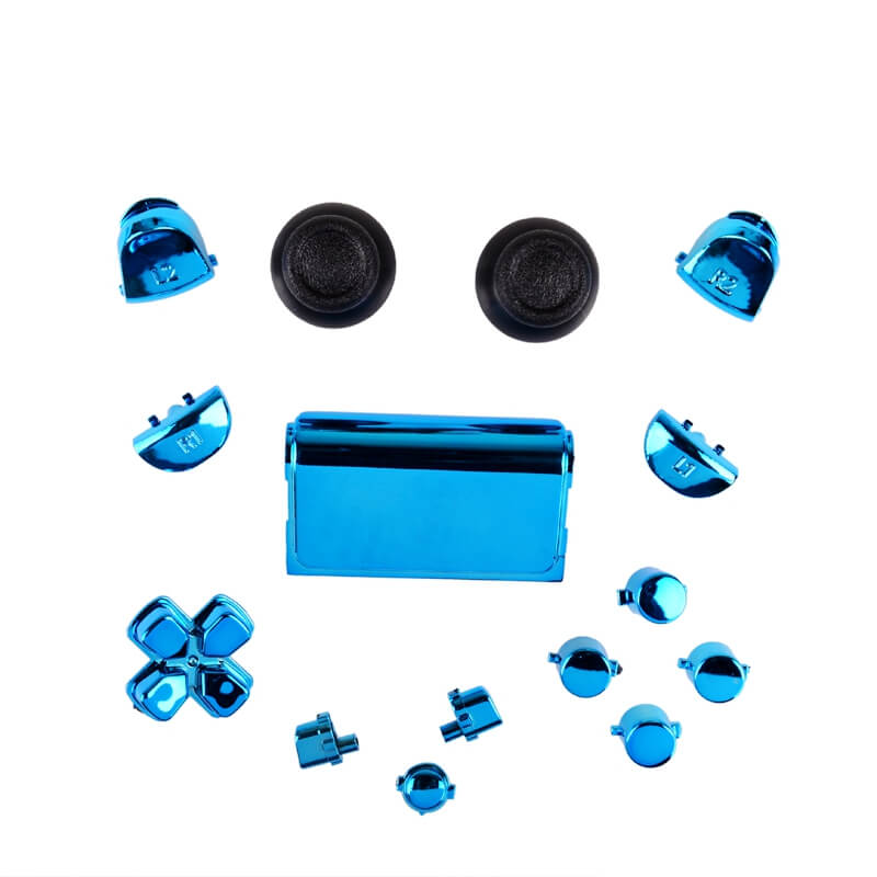 PS4 controller chrome button replacement set blauw