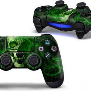 Green Skull PS4 controller skin