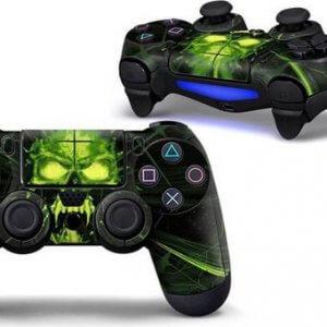 Skull Green PS4 controller skin
