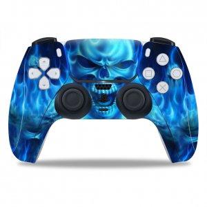 Blue Skull PS5 controller sticker